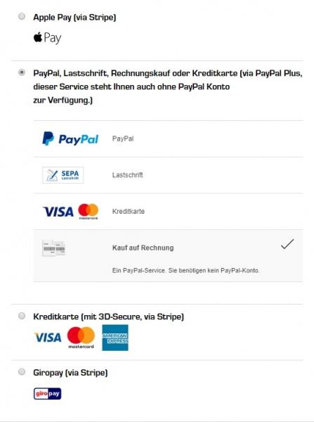 Rechnungskauf-Zahlungsarten